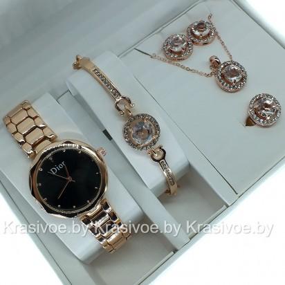 Комплект! Женские наручные часы Christian Dior, браслет, подвеска, серьги CWC207
