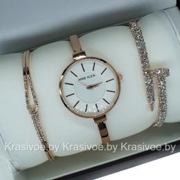 Комплект! Женские наручные часы Anne Klein + два браслета CWC837