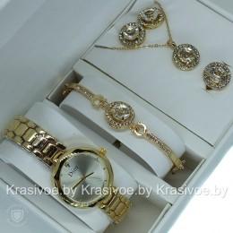 Комплект! Женские наручные часы Christian Dior, браслет, подвеска, серьги CWC963