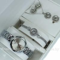 Комплект! Женские наручные часы Christian Dior, браслет, подвеска, серьги CWC964
