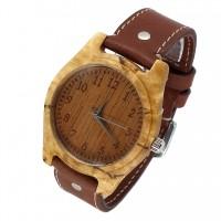 Наручные часы из карельской березы c кожаный ремешком ручной работы от Remen (№1)