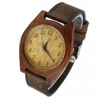 Наручные часы из мербау с кожаным ремешком ручной работы от Remen (№3)