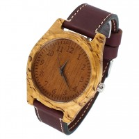 Наручные часы из карельской березы с кожаным ремешком ручной работы от Remen (№4)