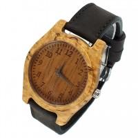 Наручные часы из карельской березы с кожаным ремешком ручной работы от Remen (№5)