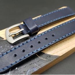Кожаный ремешок RemenMaster синего цвета для часов 18 мм M233-18