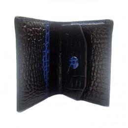 Раскладной кошелек от Remenmaster. Итальянская кожа с тиснением под крокодила. Цвет черный с синим. Арт. RMP001