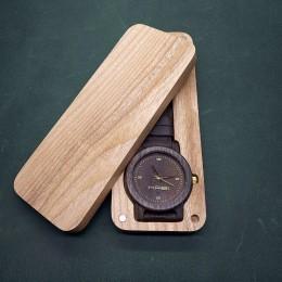 "Наручные часы ""Лорд"". Мореный дуб + натуральная кожа. Футляр в комплекте. Арт. K006"