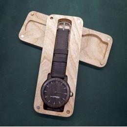 "Наручные часы ""Штурм"". Мореный дуб + натуральная кожа. Футляр в комплекте. Арт. K020"