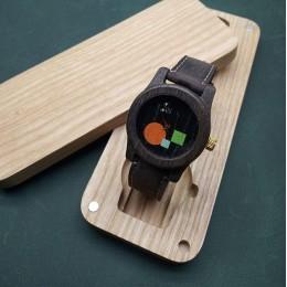 """Наручные часы """"Дискотека"""". Мореный дуб + натуральная кожа. Футляр в комплекте. Арт. K027"""