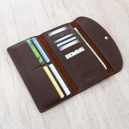 Длинный кожаный кошелёк Trifon коричневый Арт.K3.7