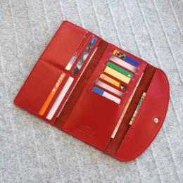 Длинный кожаный кошелёк Trifon красный Арт.K3.7