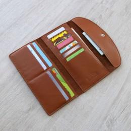 Длинный кожаный кошелёк Trifon песочный Арт.K3.7