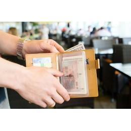Портмоне для автодокументов, паспорта и денег песочное С12