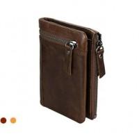 Раскладной кошелек кожаный YEROFEY темно-коричневый