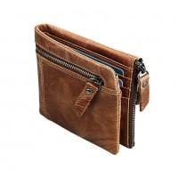 Раскладной кошелек кожаный YEROFEY 2 песочный