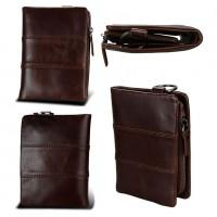 Раскладной кошелек кожаный ACHILLES коричневый