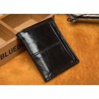Раскладной кошелек кожаный CLEON черный
