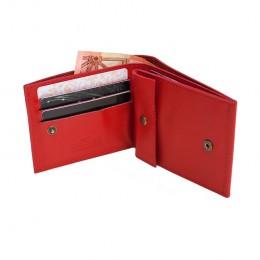Раскладной кошелек кожаный Slim красный