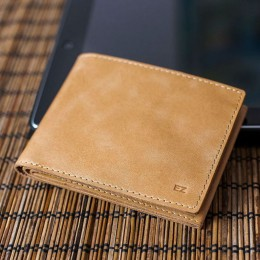 Раскладной кошелек кожаный Slim песочный