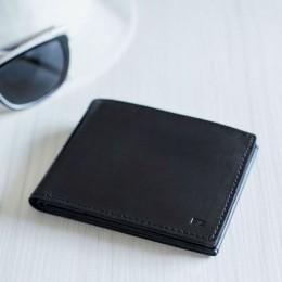 Раскладной кошелек кожаный Slim черный