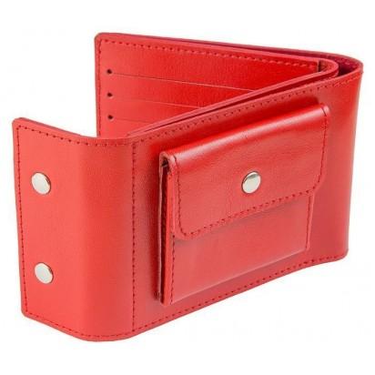 Раскладной кошелек кожаный TRAVEL красный