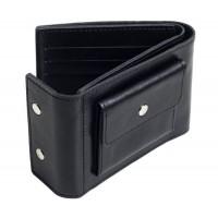Раскладной кошелек кожаный TRAVEL черный