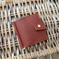 Зажим для денег кожаный MINI коричневый